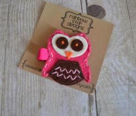Owlivia The owl Hair Clip in Raspberry and Chocolate Brown