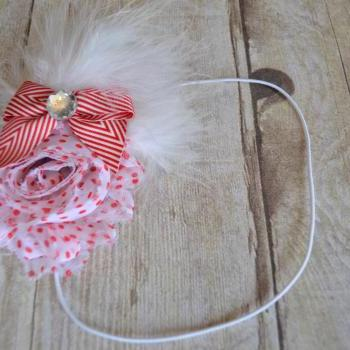 Red and White Shabby Chic Feaher Headband